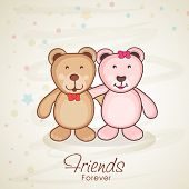 foto of  friends forever  - Cute little teddy bears hugging to each other and stylish text Friends Forever on abstract brown background for Happy Friendship Day celebrations - JPG