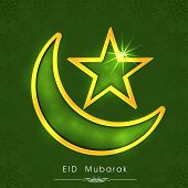 Shiny crescent moon with star on green background for muslim community festival Eid Mubarak celebrat