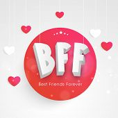 Shiny pink and red sticky with silver text BFF on shiny grey background for Happy Friendship Day celebrations.