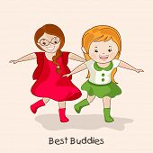 Cute little girls running and extending their arms on occasion of Happy Friendship Day.