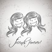 Pencil sketch of cute little girls on grey background for Happy Friendship Day celebrations.