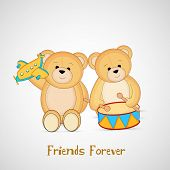 Cute little teddy bears on grey background for Happy Friendship Day celebrations background.