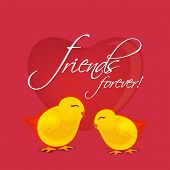 Cute little chicks on glossy heart shape decorated red background with stylish text Friends Forever