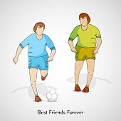Young men playing football on grey background, happy friendship day celebrations concept.