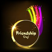 Happy Friendship Day celebrations concept with golden circle and colorful design of happy peoples on