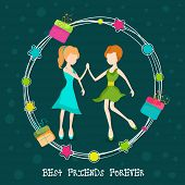Cute little girls holding hand in gift box decorated circle on green background for Happy Friendship