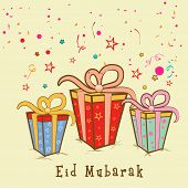 Beautiful Eid Mubarak celebrations greeting card design with colorful gift boxes on stars decorated