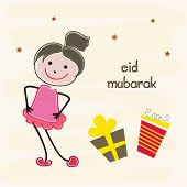 Muslim community festival Eid Mubarak celebrations with cute little and gift boxes on beige backgrou