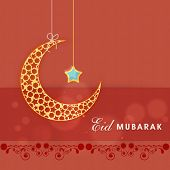 Hanging golden moon with blue star on red background for muslim community festival Eid Mubarak celeb