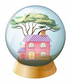 Illustration of a crystal ball with a beautiful house inside on a white background