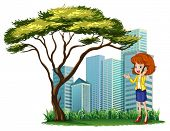 Illustration of a woman using her phone outside the office on a white background