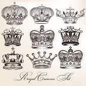Set Of Vector Decorative Heraldic Crowns In Vintage Style