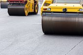 Road Roller At Asphalt Pavement Works