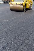 picture of vibrator  - Heavy vibration roller during asphalt pavement works - JPG