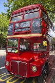 LONDON, UK - JUNE 3, 2014: Mayfair, famous red double English bus