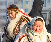 Nadym, Russia - March 2, 2007: Unknown Woman - Nenets, Closeup, On The Street.