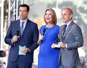 NEW YORK-JUL 18: (L-R) Carson Daly, Savannah Guthrie and Matt Lauer at NBC's 'Today Show' at Rockefe