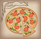pizza vector hand drawn