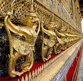 Golden Staute Of Garuda Right Side At Emerald Buddha Temple, King Palace, Thailand