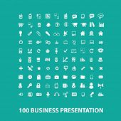 100 business presentation flat icons, signs, symbols set, vector