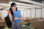 pic of indian apple  - Young attractive female student standing in the classroom while holding a red apple and folder - JPG