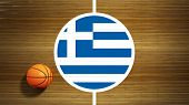 Basketball court parquet floor center with flag of Greece