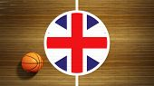 Basketball court parquet floor center with flag of UK