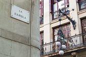 Road Sign Of Rambla Street In Barcelona