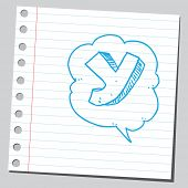 Letter Y in comic bubble