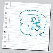 Letter R in comic bubble