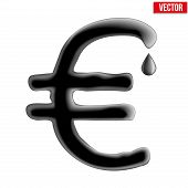 Currency euro in oil texture