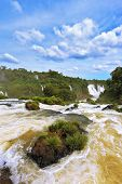 Waterfalls in Brazil. Fantastically spectacular boiling and thundering waterfalls of Iguazu. The pic