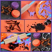 Happy Halloween Cooking Baking Collage With Orange And Purple Cookies, Cookie Cutters And Decoration