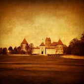 Trakai castle. Lithuania.Grunge and retro style.