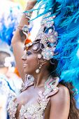 Victoria, Seychelles - April 26, 2014: Brazilian Samba Dancer  At The Carnival International De Vict