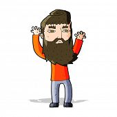 cartoon bearded man waving arms