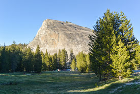 stock photo of granite dome  - View of Lembert Dome a granite dome rock formation in Yosemite National Park in the U - JPG