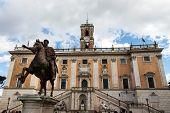 italy, rome. rome. piazza del campidoglio. marcus aurelius statue