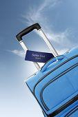 Santa Cruz, Mexico. Blue Suitcase With Label