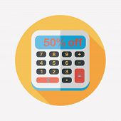 Shopping Calculator Flat Icon With Long Shadow,eps10
