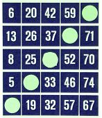 Blue Bingo Card Isolated