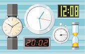 Set of colorful clocks icons