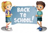 Illustration of a girl and a boy holding a back to school sign
