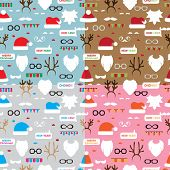 Seamless pattern scrapbooking vector set Santa, reindeer.