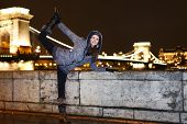 Dynamic Woman Posing In Budapest