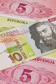 Different Tolar Banknotes From Slovenia On The Table