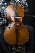 Vertical image of an artist playing cello