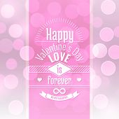 Valentine's Day Card Design On Vector Abstract Background With Blurred Defocused Pink Bokeh Lights