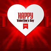 Valentine's Day Card With Heart And Ribbon On Shiny Red Background
