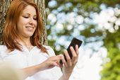 Pretty redhead text messaging on her phone in park on a sunny day